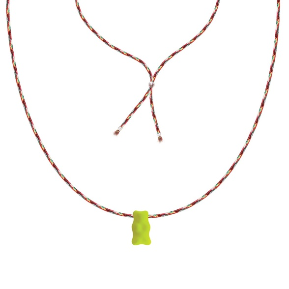 Neon Yellow Bear - Glass Necklace SIBN0007