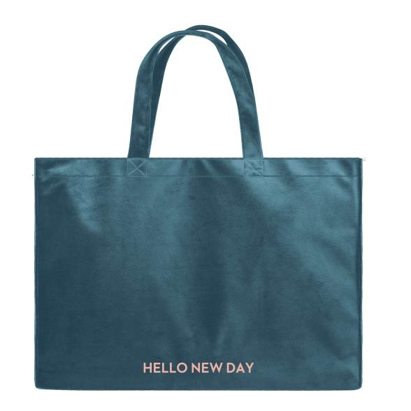 Hello New Day - Velvet Shopper Bag VEBL0037
